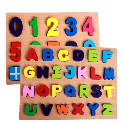 Due tipi di numeri di legno Peg Puzzle Board Manopola di mano Peg Puzzle Puzzle di legno Chunky Early Educational Toys per i bambini