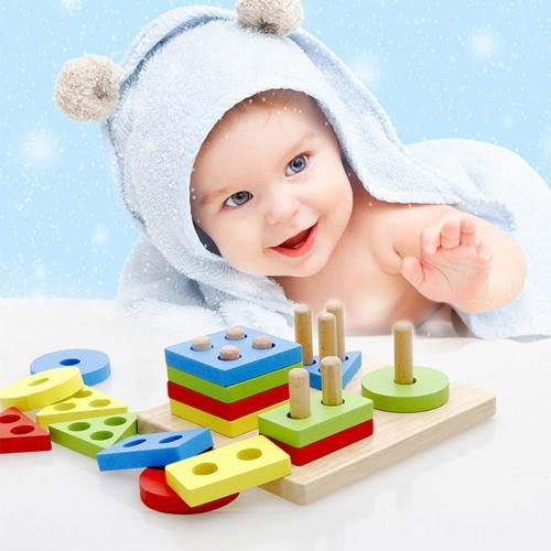 Geometric Intelligence Board Geometric Sorting Block Column Building Blocks Wooden Educational toy