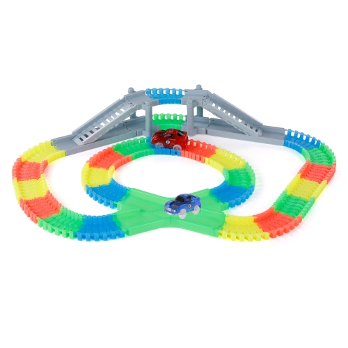 YA ZHI QI 868-163 166PCS 55mm Twisted Tracks Assemblea flessibile Neon Glow in the Darkness con Bridge Crossroad Track Race Car per bambini