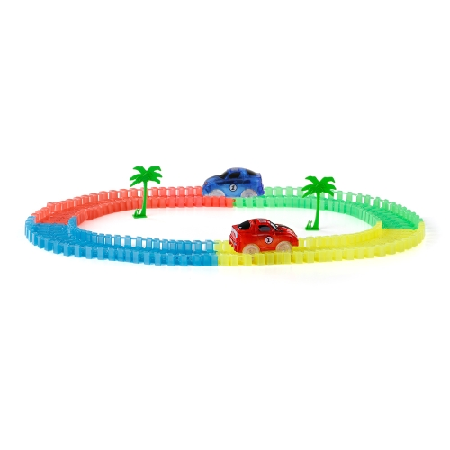 99PCS 55mm Twisted Tracks Flexible Assembly Neon Glow in the Darkness Track Race Car for Kids