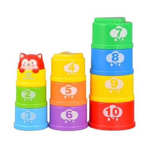 GOODWAY  Imbottitura delle tazze Imparare i numeri di numero Giocattoli da bagno della torre