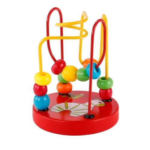Giocattolo educativo del labirinto del telaio dell'animale del fumetto di legno per i giocattoli educativi del labirinto di mini perle del cerchio del modello del bambino per i giocattoli di coordinazione dell'occhio della mano del bambino