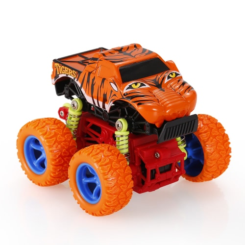 1:34 Animal Inertia Car Toy Off-Road Car 4WD Alloy Big Wheels Shock Resistant Inertia Vehicle Colorful Friction Powered Car Toy