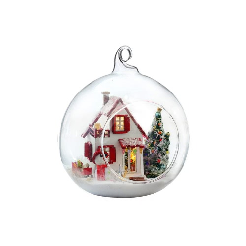 DIY House Miniature Kit Dollhouse Creative Room with Furniture LED Glass Ball Voice Control Switch for Christmas Romantic Kids Gift