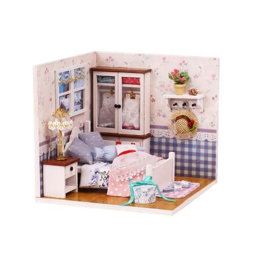 DIYハウスミニチュアキットドールハウスクリエイティブルーム家具LEDボイスコントロールスイッチロマンチックな子供のための防塵カバーギフト