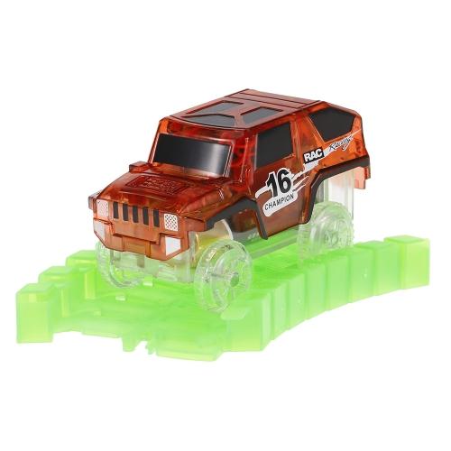子供のための暗闇でのネオンの輝きを追跡する45ミリメートルツイスタートラックのキラキラトラックレースカー