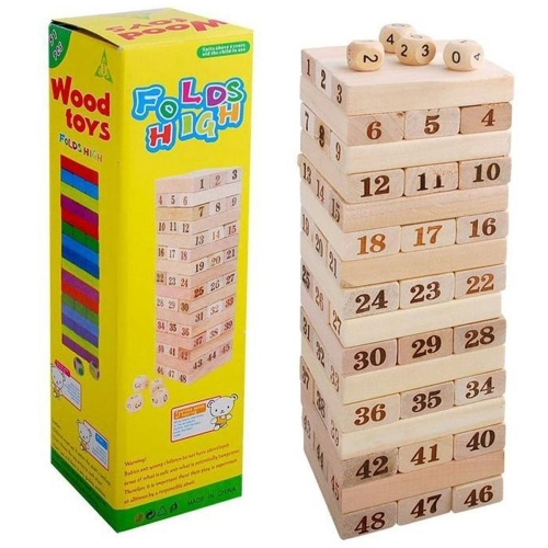 48Pcs Wooden Building Block Set Stacking Board Game Shape and Number Recognition Educational Toy for Kids