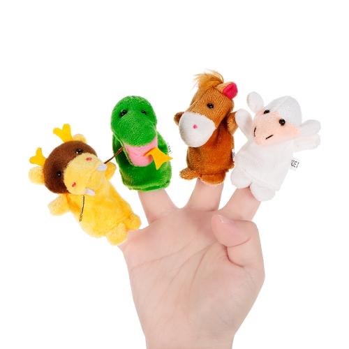 12本の動物の指人形かわいい漫画のぬいぐるみ指人形の早期教育玩具