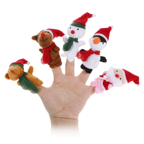 5 unids Finger Puppet Cute Cartoon Christmas Plush Toys Finger Doll Niño Juguetes de regalo de Navidad