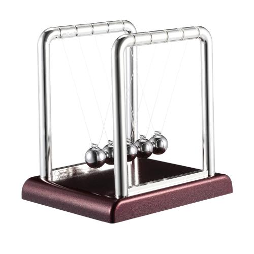 Classic Newton Cradle Balance Bälle Wissenschaft Spaß Desktop-Spielzeug mit roten Holzfuß