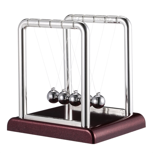 Classic Newton's Cradle Balance Balls Science Fun Desktop Toy with Red Wooden Base