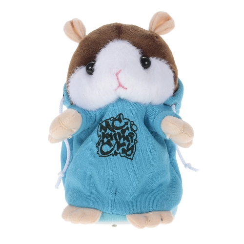 Talking Hamster Repeats What You Say Cute Plush Electronic Mimicry Hamster Interactive Stuffed Toy Gift for Kids Birthday and Party - BLUE