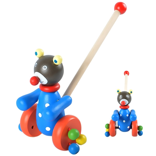 Drewniane Push Along Toy Cartoon Bear Animal Walking Push Puzzle Kids edukacyjne Mini samochodzik