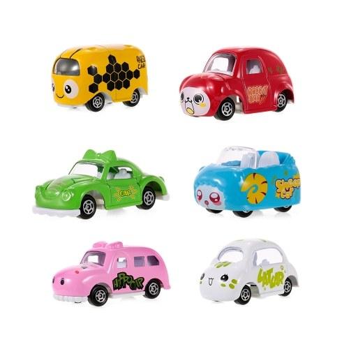 6Pcs Scala 1:64 Scala Die-Cast Slide Cars Modello in lega di cartoni animati Adavanced Simulation Model Miniature Cars for Kids