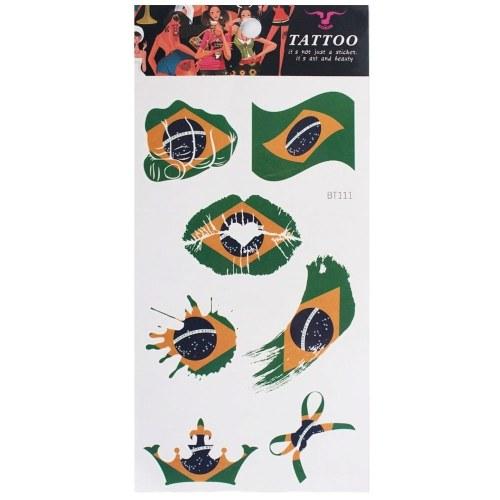 Russia 2018 Coppa del mondo Bandiera nazionale Tatuaggio Adesivo temporaneo Body Face Sticker Bandiere - Brasile
