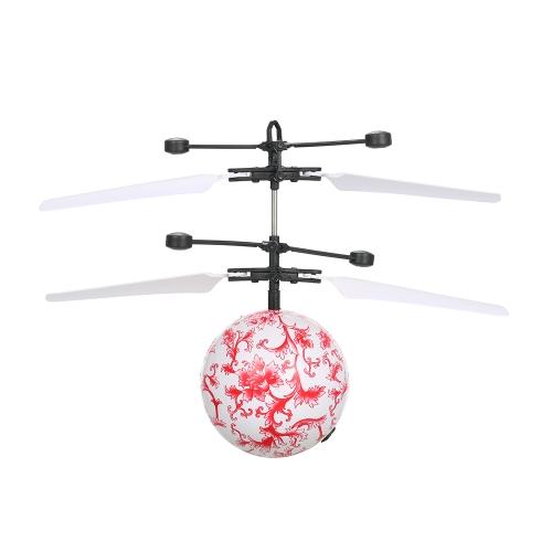 Sensore intelligente luminoso levitato Emoji Flyball Azione Aerocraft Flash Volo elicottero palla Induzione a infrarossi Colorato LED Disco Light-Up Giocattoli Giocattolo per bambini Regalo di Natale Modello bianco