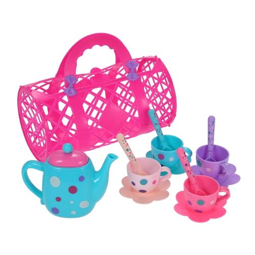 古典的なミニチュアティーコーヒーディッシュカップスプーンセット遊ぶおもちゃ教育ゲームおもちゃ子供13ピースのための素晴らしいギフトランダムカラー