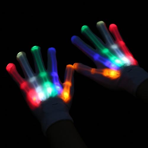 1ペアのカラフルなLEDの光沢のある手袋の照明の点滅指のグローブユニセックスのスケルトンダンスクラブの小道具のパーティースタイル1