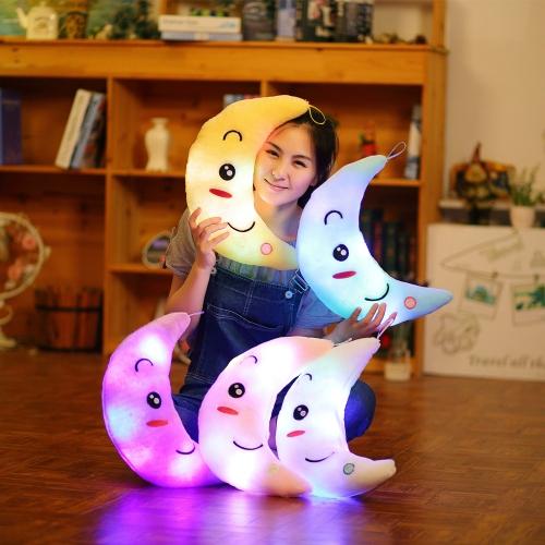 Niedliches buntes Schlaf-helles weiches blinkendes LED-Licht-Mond-Kissen - nur Licht der Art-1 LED