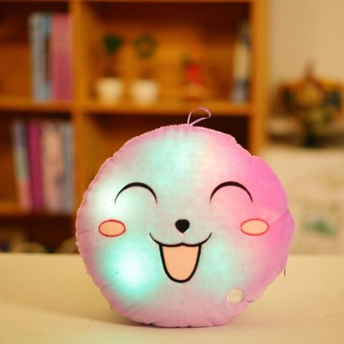 Luminous Soft LED Bunte Süße Runde Lächelndes Gesicht Gefüllt Plüschtier nachtlicht Kissen Kissen Dekorative Emoji Kissen Weiß Stil 1