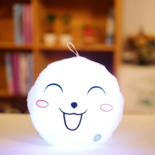 光るソフトLEDカラフルな甘いラウンド笑顔ぬいぐるみのぬいぐるみナイトライトピロークッション装飾的な絵文字の枕白いスタイル1