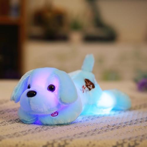 LED光のカラフルなグローナイトライト犬のぬいぐるみピローぬいぐるみぬいぐるみラブリークッションソフトドールキッズ子供の女の子ギフトホワイトスタイル1