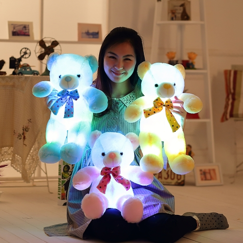 50 * 35 * 18cm Colorful LED Flash Light Luminous Bear Soft Plush Doll - Style 1 Only LED Light