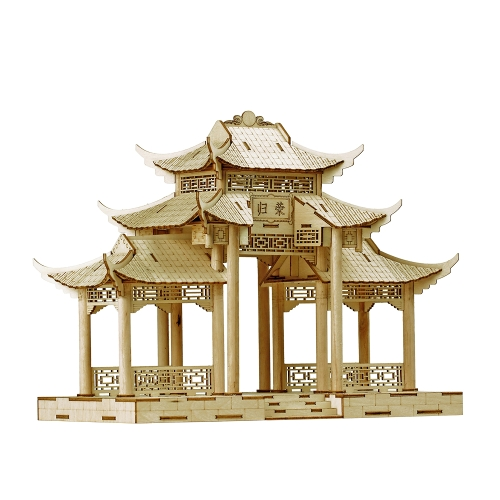 3D Wood Puzzle Model Wooden Great Chinese Architecture DIY Toys Art Craft Building Kit Best Educational Gift for Kids Parent-child Interactive Toy Style 1 Memorial Archway