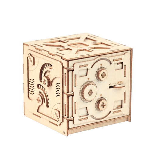 Puzzle Wood Storage Case Saving Money Box Code Design Napęd mechaniczny DIY Craft Assembly Zestawy zabawek edukacyjnych dla dzieci w stylu budynku 1