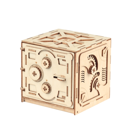 Puzzle Wood Storage Case Saving Money Box Code Design Mechanical Drive DIY Craft Assembly Kids Educational Toy Building Kits Style 1