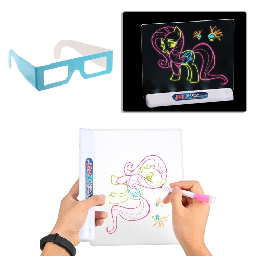 Multi-function 3D Flash Three-dimensional Magic Magnetic Drawing Board Toy Colorful Pen Painting Tablet