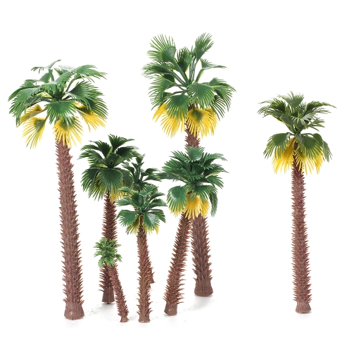 12pcs Layout Miniature Landscape Scenery Model Train Rain Forest Palm Trees Building Kits Decoration Collection Different Sizes Style 1