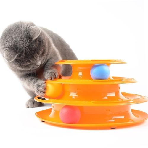 Funny Kitten Toy Three-Layer Decompression Ball Training Intelligence Cat Toy Ciekawe Triple Play Disc dla zwierzaka