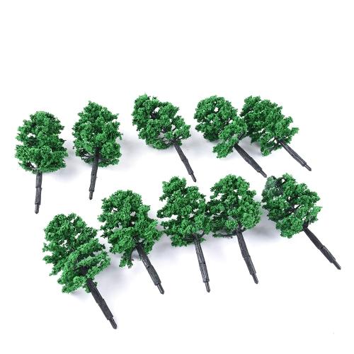 10 Pcs Model Tree Plastic Miniature Landscape Scenery Train Railways Mini Layout Rainforest Trees Scale Style 1