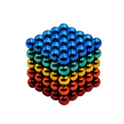 Multi-colored 5 mm Magnetic Beads Balls Spheres Neodymium Iron DIY Educational Toys 125 Pieces