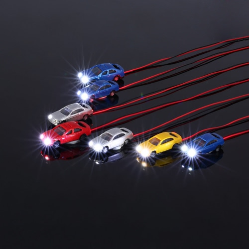 10 Pieces Flaring Light Model Cars Painted Head Light Model Car with Wire Miniature Damara Train Layout 1:150 Scale