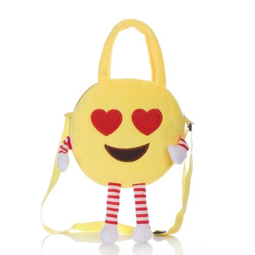 Cute Emoji Emoticon Shoulder Bag Backpack Satchel Lovely Plush Toy School Child Schoolbag Rucksack Handbag Crossbody Cartoon Bag for Kids Girls Boys Gift 5#