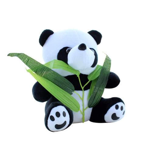 Simpatico cartone animato farcito panda con bambù morbido peluche giocattolo farcito animale bambola regalo per i bambini stile 1