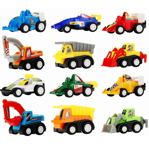 12 Pcs Pull Back Vehicle Assorted Construction Vehicles and Racer Cars Truck Mini Car Toy Play Set for Kids Birthday Game Party Favors Classrooms Rewards