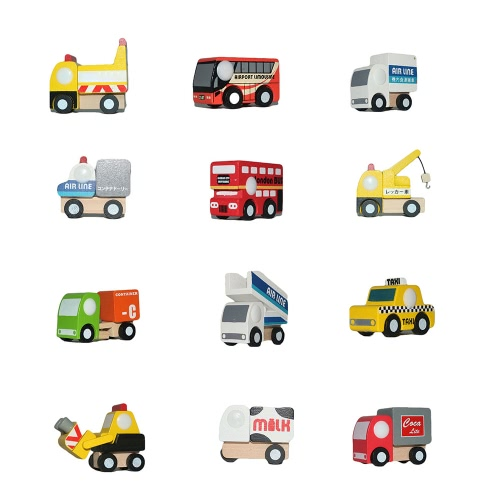 子供のための12個の木製の車1のおもちゃミニ車モデル車セットクラシックな建設チーム教育おもちゃ