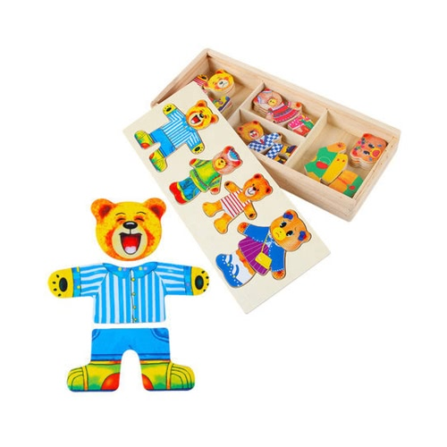 Wooden Dress Up Bear Dressing Jigsaw Wooden Puzzle Set Bear Dress Changing Educational Toys