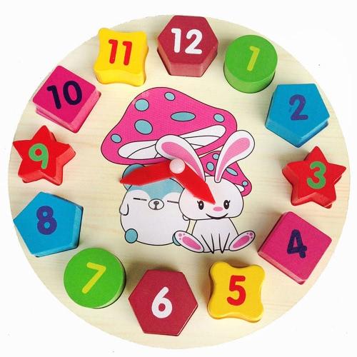 デジタル幾何学時計木製ブロックおもちゃ木製12数字時計玩具教育玩具