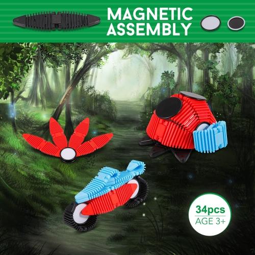 34pcs Flexible Magnetic Construction Kit Assembly 2D 3D Puzzle Block Educational Toys