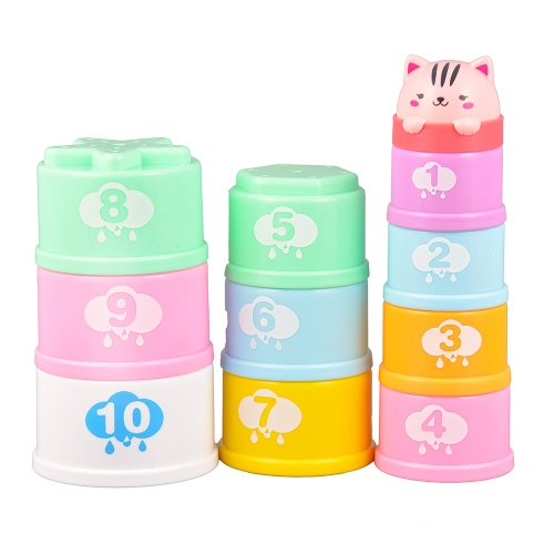 GOODWAY DOVE G109A Stacking Cups Learning Count Number Animal Tower Bath Toys Toddlers Early Educational Stacker