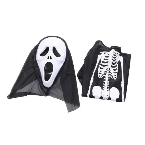 ハロウィンコスチューム怖いスケルトンマスクゴースト服