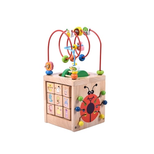 Andoer 6 in 1 Wooden Bead Maze Activity Cube Multipurpose Activity Center Box Educational Skill Improvement Wood Toys for Kids