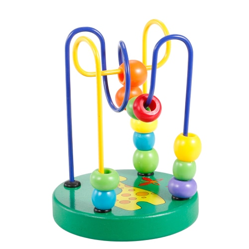 Wooden Cartoon Animal Chassis Zebra Pattern Circle Mini Beads Maze Educational Toy for Kids Hand Eye Coordination Toy