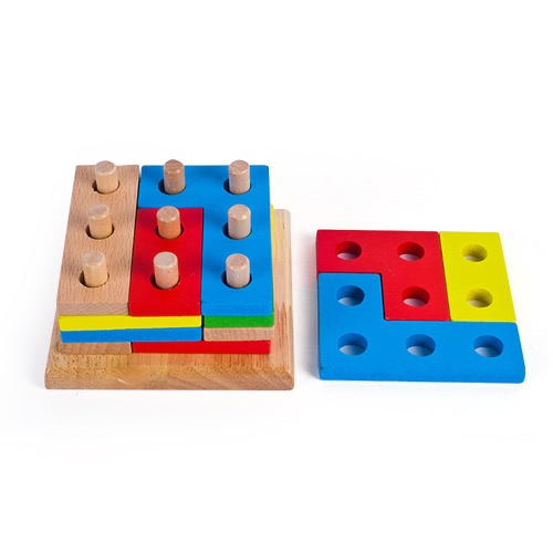 Wooden Geometric Intelligence Board with 9 Column Geometric Sorting Block Column Building Blocks Wooden Educational toy