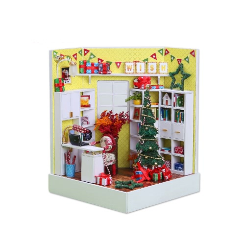DIY Haus Miniatur-Kit Dollhouse Creative Zimmer mit Möbel LED-Glaskugel Voice Control Switch für Weihnachten Romantische Kids Gift