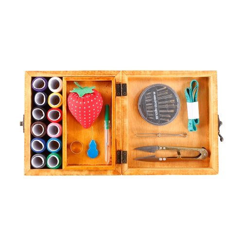 Wooden Sewing Basket Sewing Box with Sewing Kit Accessories for Home Travel and Emergencies